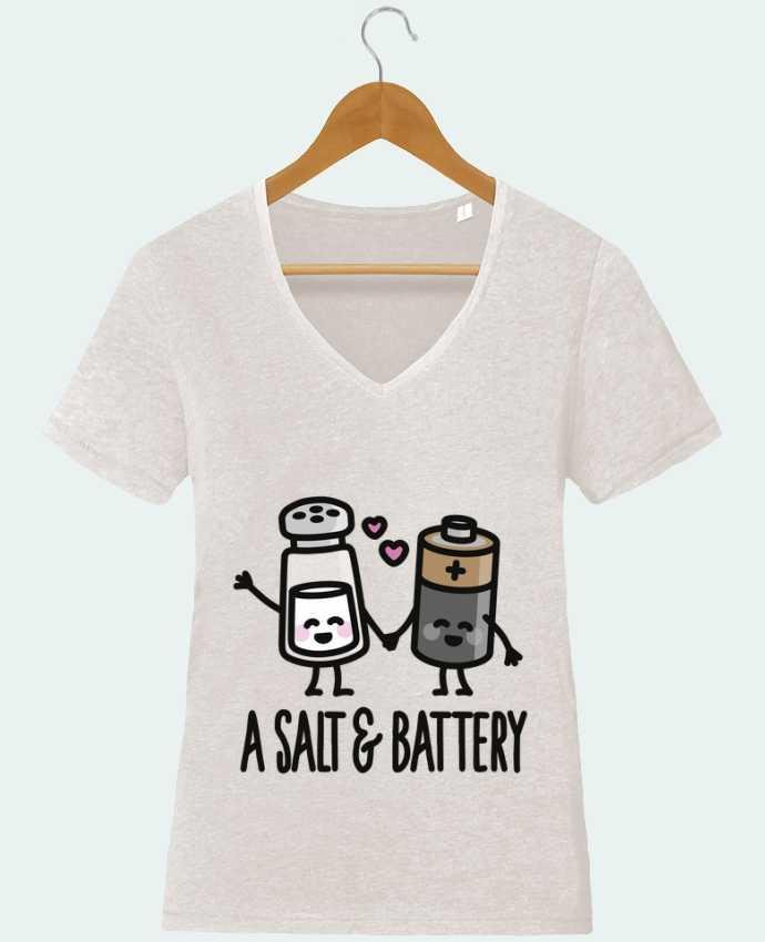T-Shirt V-Neck Women Stella Chooses A salt and battery by LaundryFactory