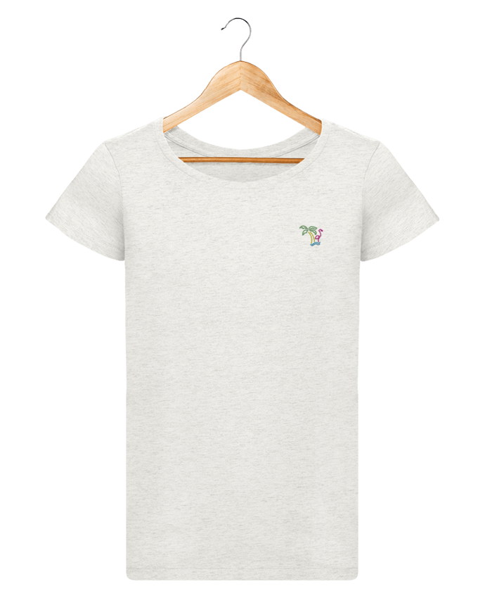 T-shirt  Femme Brodé Island Flamingo by tunetoo
