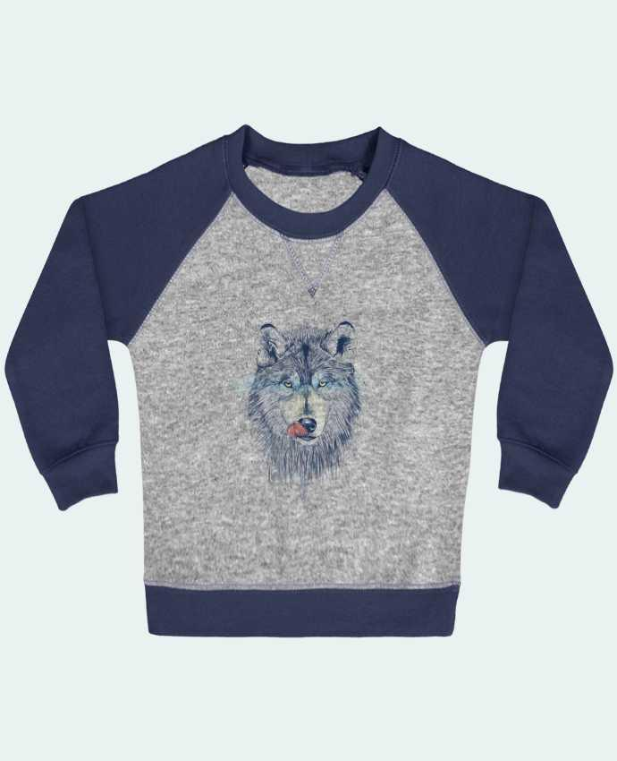 Sweatshirt Baby crew-neck sleeves contrast raglan Dinner Time by Balàzs Solti