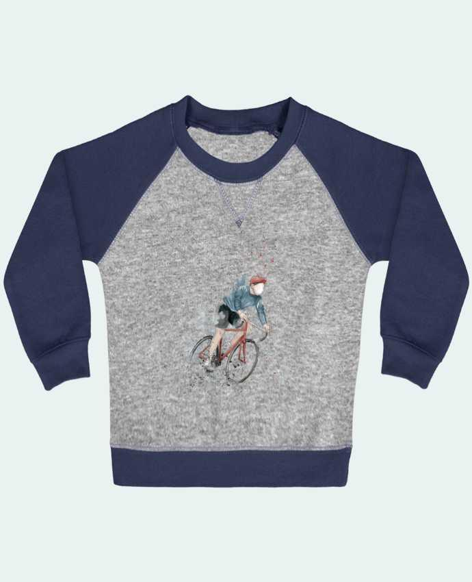 Sweatshirt Baby crew-neck sleeves contrast raglan I want to Ride by Balàzs Solti