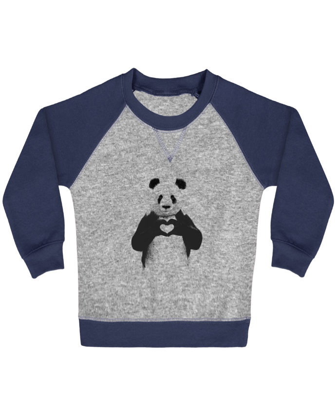 Sweatshirt Baby crew-neck sleeves contrast raglan All you need is love by Balàzs Solti