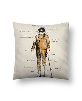 Cushion suede touch 45 x 45 cm Astropirate with text by Florent Bodart