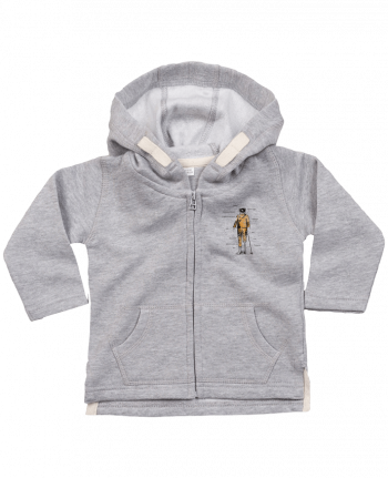 Hoddie with zip for baby Astropirate with text by Florent Bodart