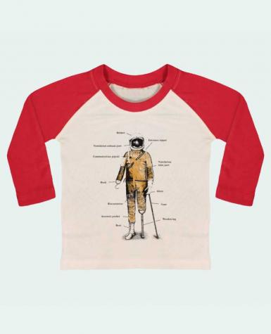 T-shirt baby Baseball long sleeve Astropirate with text by Florent Bodart