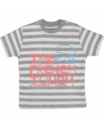 T-shirt baby with stripes The French Touch by Freeyourshirt.com