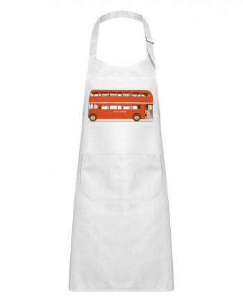 Kids chef pocket apron Red London Bus by Florent Bodart