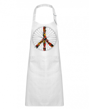 Kids chef pocket apron Peace and Bike by Florent Bodart