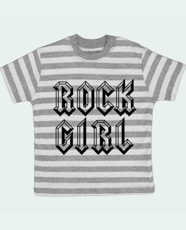 T-shirt baby with stripes Rock Girl by Freeyourshirt.com