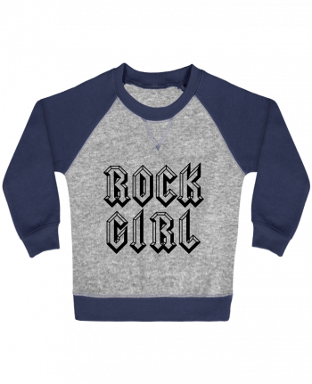 Sweatshirt Baby crew-neck sleeves contrast raglan Rock Girl by Freeyourshirt.com