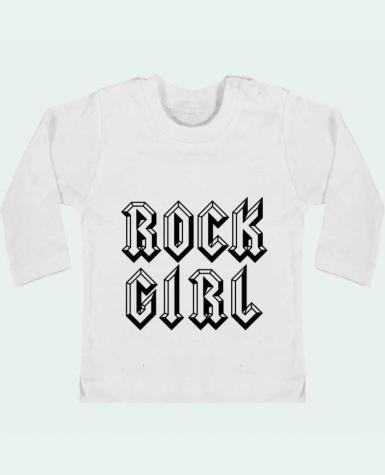 Baby T-shirt with press-studs long sleeve Rock Girl manches longues du designer Freeyourshirt.com