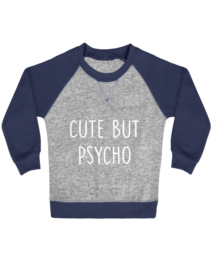 Sweatshirt Baby crew-neck sleeves contrast raglan Cute but psycho by Bichette