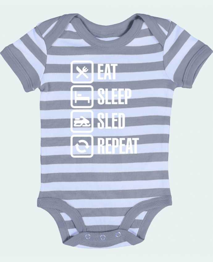 Baby Body striped Eat, sleep, sled, repeat - LaundryFactory