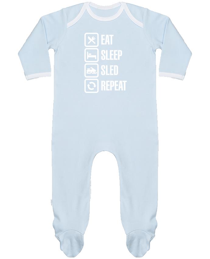 Baby Sleeper long sleeves Contrast Eat, sleep, sled, repeat by LaundryFactory