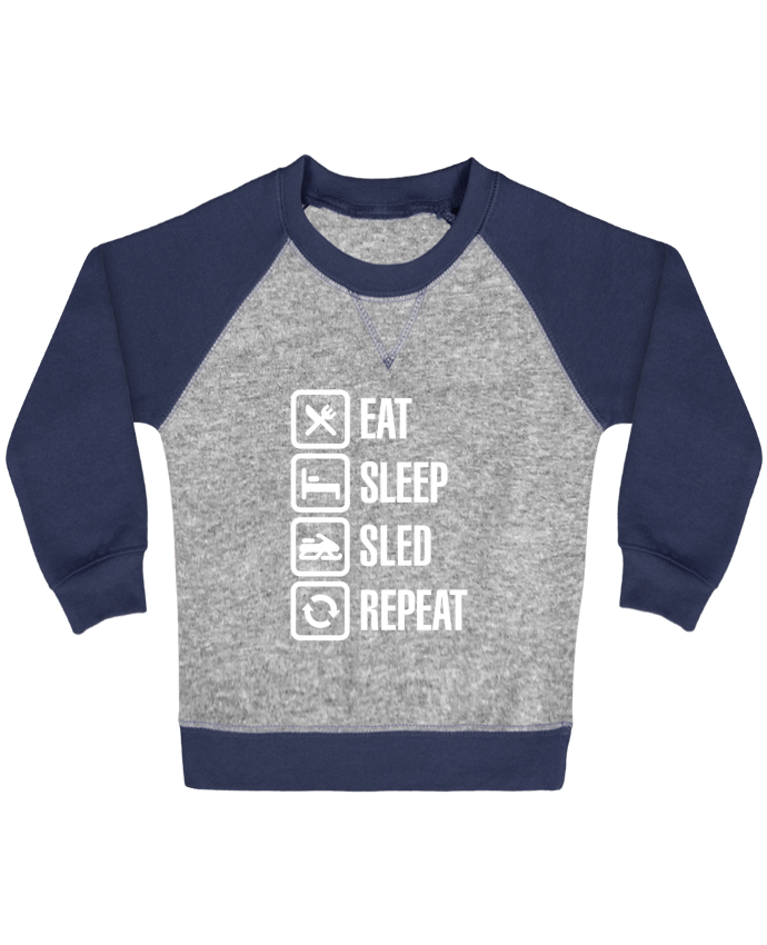 Sweatshirt Baby crew-neck sleeves contrast raglan Eat, sleep, sled, repeat by LaundryFactory