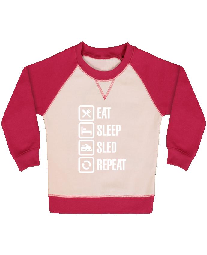 Sweatshirt Baby crew-neck sleeves contrast raglan Eat, sleep, sled, repeat by LaundryFactory