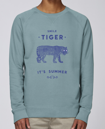 sweatshirt Men crew neck Stanley Strolls Smile Tiger by Florent Bodart