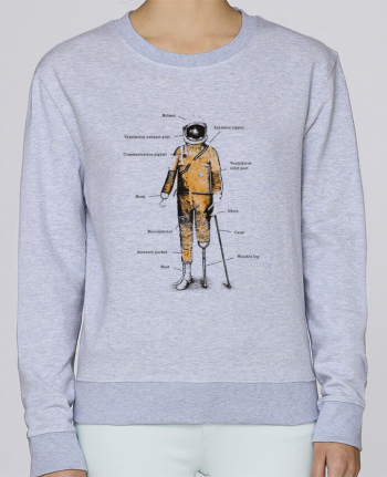 sweatshirt Women crew neck Stella Hides Astropirate with text by Florent Bodart