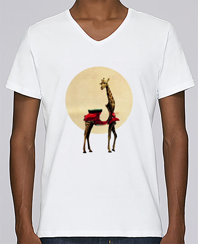 T-shirt V-neck Men Stanley Relaxes Giraffe by ali_gulec