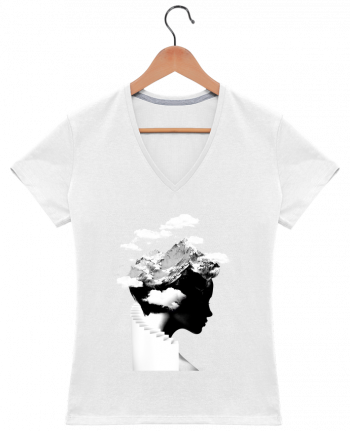 T-Shirt V-Neck Women It's a cloudy day by robertfarkas