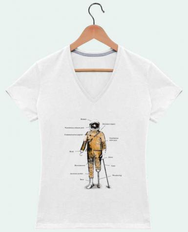 T-Shirt V-Neck Women Astropirate with text by Florent Bodart