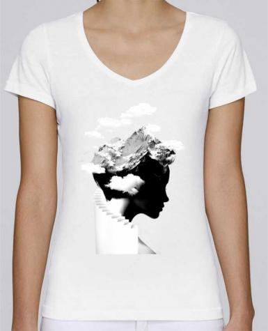 T-Shirt V-Neck Women Stella Chooses It's a cloudy day by robertfarkas