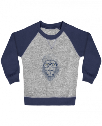 Sweatshirt Baby crew-neck sleeves contrast raglan Cool Lion by Balàzs Solti