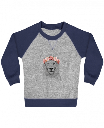 Sweatshirt Baby crew-neck sleeves contrast raglan Festival Lion by Balàzs Solti